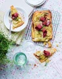 Tarte aux pommes de terre rattes, mascarpone et manchego