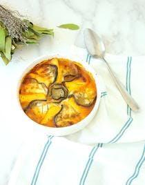 Gratin de polenta à l'aubergine et mozzarella