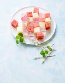 Salade de fruits et sa gelée à la rose