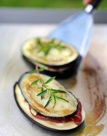 Paninis d'aubergines et bresaola au citron confit