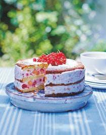 gâteau à la crème pêches-framboises