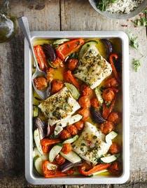 Cabilllaud aux légumes d'été rôtis