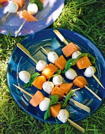Brochettes melon-mozza