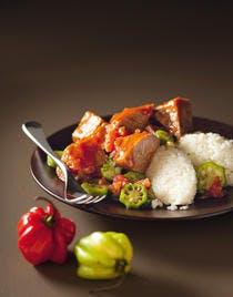 Langue de boeuf, sauce gombos au riz