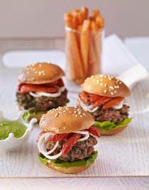 Petits lamb burgers, frites de patate douce