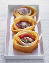 Rosaces de melon, bouchées de poulet et jambon San Daniele
