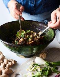Salade d'aubergines vapeur à la chinoise