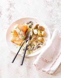 Pavé de truite, sauce au Reblochon et morilles