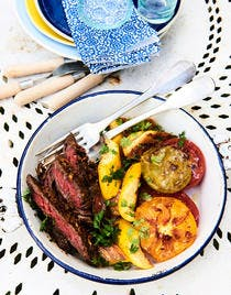 Boeuf mariné et légumes de saison grillés