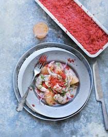 Ceviche de gambas, pamplemousse et granité fraise
