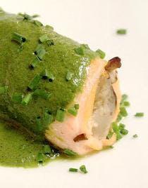 Roulés de saumon tièdes et fricassée de champignons
