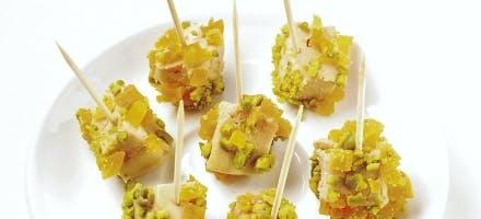 Piques de foie gras aux fruits secs