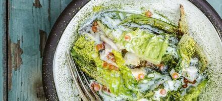 Chou braisé aux œufs de saumon