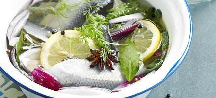 Harengs frais marinés au vinaigre et au vin blanc
