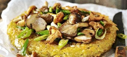 Galette de pommes de terre aux champignons