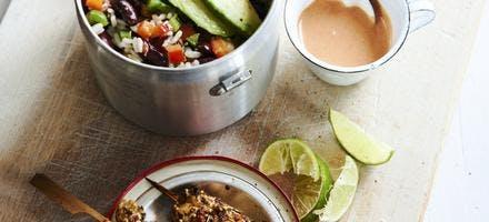 Salade de riz-poivrons, sauce tomato-coco