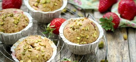 Muffins fraises-pistaches