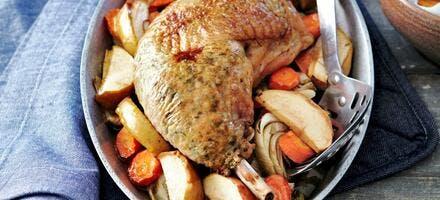 Cuisses de faisan farcies sous la peau aux pommes et aux légumes