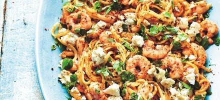 Linguine de crevettes à l'orientale
