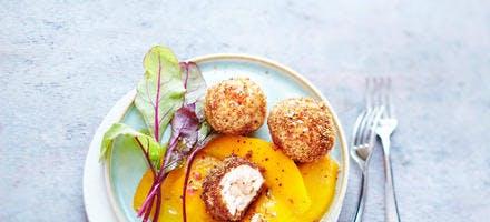 Cromesquis de foie gras et pain d'épices à la mangue