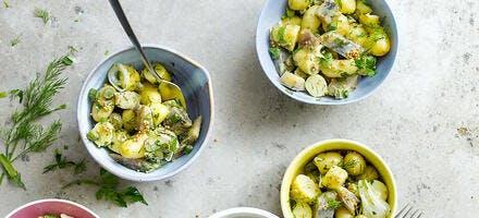 Rattes aux harengs, vinaigrette au miel et à la moutarde