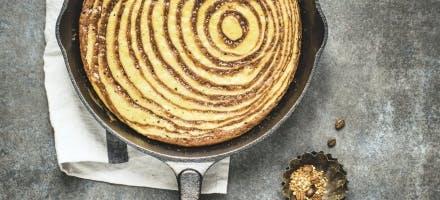 Gâteau marbré café-praliné, à la poêle