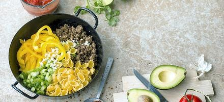 One-pot-pasta au boeuf et poivrons