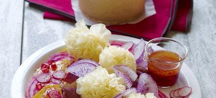 Salade de magrets aux deux betteraves et à  la Tête de Moine AOP