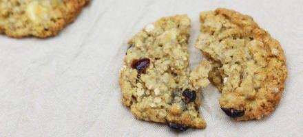 Cookies aux flocons d'avoine, chocolat blanc & cranberries