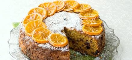 gâteau aux fruits confits et aux mandarines