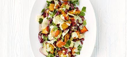 salade poulet et courge butternut à l'indienne