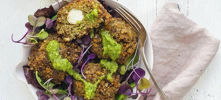 boulettes aubergine mozzarella au pesto