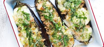 aubergines grillées farcies au boulgour
