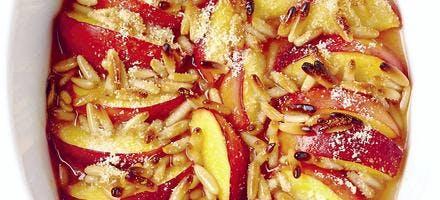 gratin de nectarines aux pignons