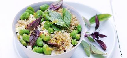 salade quinoa feta et fèves