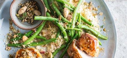 Filet de porc et semoule aux haricots verts