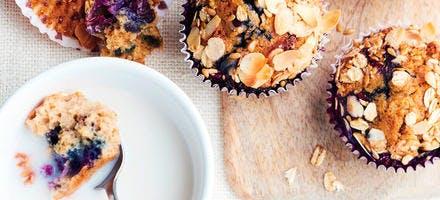 Muffins aux myrtilles et au muesli