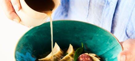 Jiaozi crevette et chorizo, bouillon miso express
