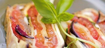 Pressé de légumes, vinaigrette d'olives noires