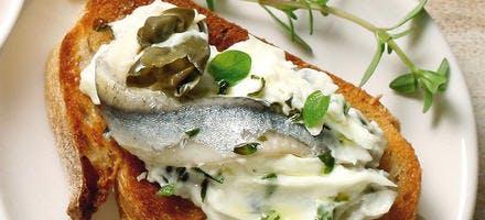 Crostinis aux anchois et au mascarpone