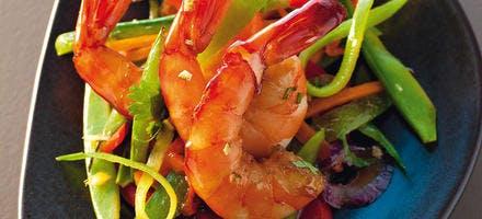 Crevettes laquées au sirop d'agave