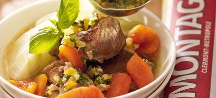 Pot-au-feu de joues de porc aux fenouils, condiment au thon fumé et citron confit