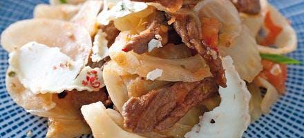Poêlée de bœuf et fenouil au fromage de chèvre