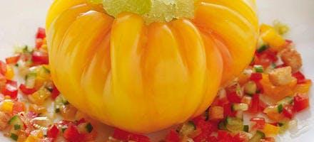 Tomates ananas, granité de tomates vertes, sauce gaspacho