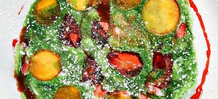 Crêpes au basilic et au caramel de fraise