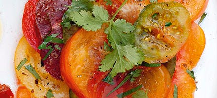 Salade de tomates au cumin et à la coriandre