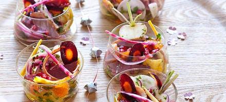 Crudités d'hiver, vinaigrette fruitée