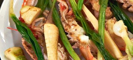 Langoustines poêlées aux légumes d'hiver