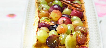 Tarte aux raisins caramélisés