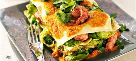 Lasagnes aux langoustines caramélisées et aux trois choux
